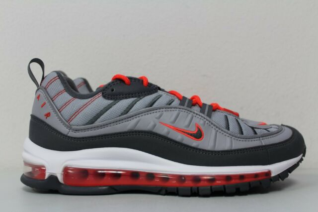 902ffbeb59e7 Nike Mens Air Max 98 Running Wolf Grey Dark Grey Crimson 640744 006 Size 9