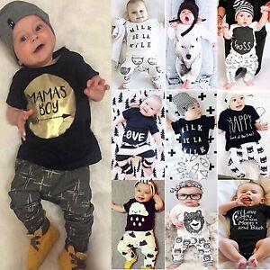 NUEVO-Infantil-Bebe-Nino-Ropa-Camiseta-Sueter-pantalones-Trajes-Informal-MONO