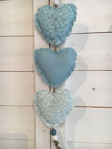 Rustic Handmade Shabby Chic Hanging Hearts Wedding Nursery Duck Egg Blue White