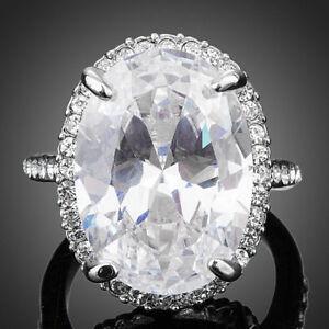 Designer-Elegante-Blanco-brillante-Claro-gran-circon-Mujer-Anillo-de-compromiso-de-boda
