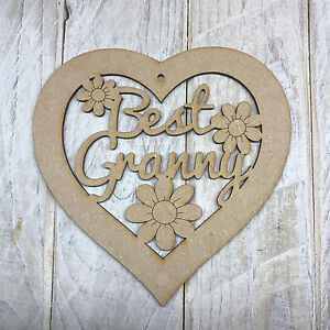 MDF Wooden Mothers Day Best Nan Heart Plaque Sign