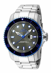 Invicta-Men-039-s-Watch-Pro-Diver-Quartz-Grey-Dial-Stainless-Steel-Bracelet-15077