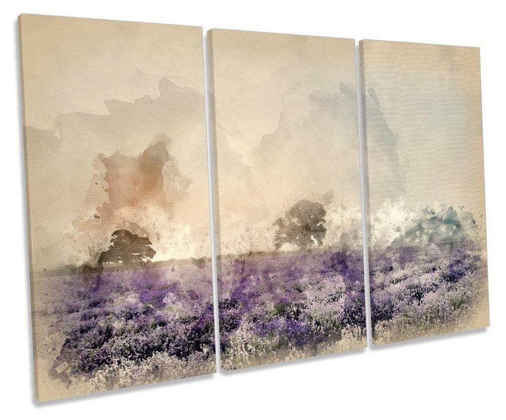 Lavander Field Landscape TREBLE CANVAS WALL ARTWORK Print Art