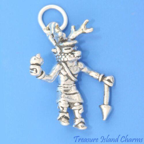 Native American Deer danseuse Kachina Doll 3D .925 Solid Sterling Silver Charm