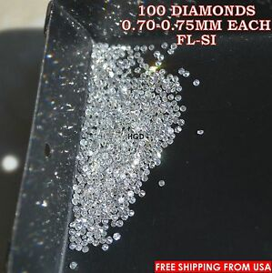 100-NATURAL-Loose-Round-Single-Cut-100-Diamonds-Real-FL-SI-D-H-white-Polished