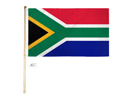 Krachtig 5' Wood Flag Pole Kit Wall Mount Bracket With 3x5 South Africa Country Poly Flag