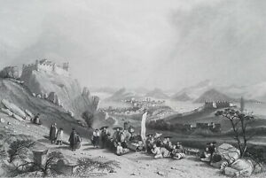 MACAO-View-from-Forts-Heang-Shan-China-1840-Antique-Print-Engraving-T-Allom