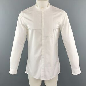KNOTT-Size-S-White-Cotton-Nehru-Collar-Tuxedo-Short-Sleeve-Shirt