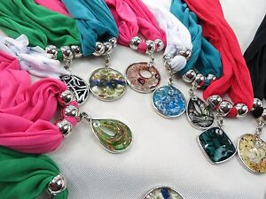 Us seller lot of 6 wholesale jeweled scarves pendant charm scarf ebay image is loading us seller lot of 6 wholesale jeweled scarves aloadofball Image collections