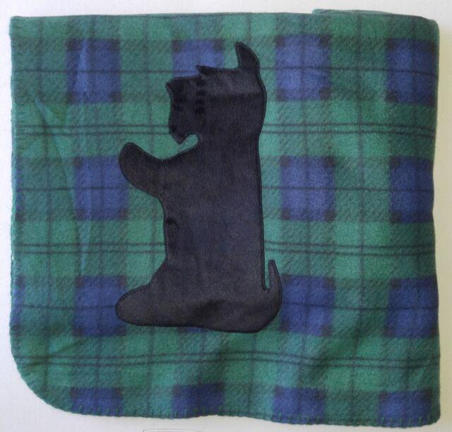 GREEN PLAID Scottie BEGGING Fleece Blanket Throw Scottish Terrier Scotty New
