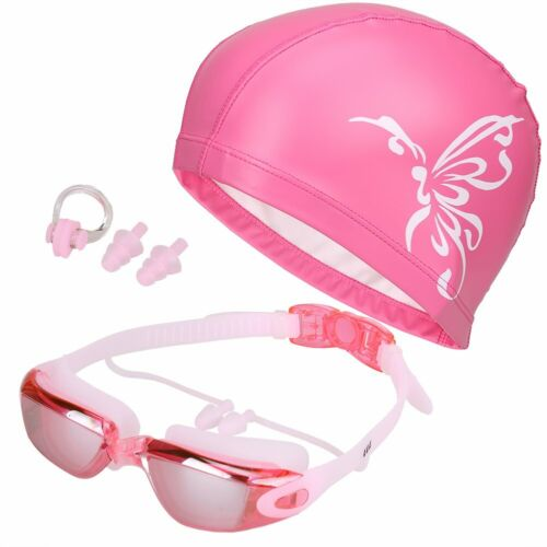 Adult Anti-Fog UV Protection Swimming Goggles Swim Cap Ear Plugs Nose Clip