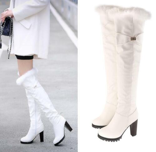 High Block Heel Side Zip Suede Fur Trim Over The Knee Boots Women Winter Shoes