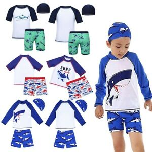 2a0ffa1979 Kids Boys Tankini Shark Pattern Swimsuit Set Tops+Bottoms Swimming ...