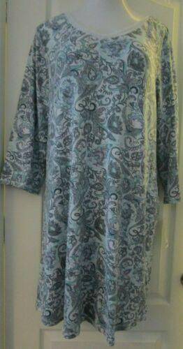 Croft and Barrow Blue paisley flannel sleepshirt size 1X Long sleeves