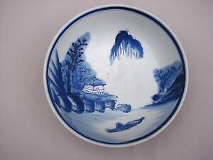 Antique-VTG-Japanese-Arita-EDO-Period-BLUE-amp-WHITE-Porcelain-Footed-Bowl