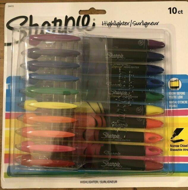 Sharpie Liquid Pen Highlighter Narrow Chisel Tip, Assorted, 10 per Set 24415
