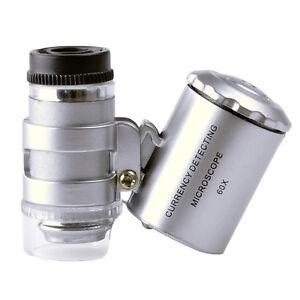 60X-Lupe-Mini-Mikroskop-Taschen-Taschenlupe-Juwelierlupe-Schmuck-LED-UV