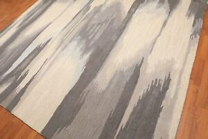 Old-Hand-Made-Faded-Ikat-Contemporary-Style-Wool-Cloud-Area-Rug