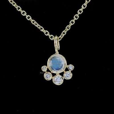 Natural 0.10 Ct Diamond Charm Pendant Necklace Solid 14k Yellow Gold Handmade Fine Christmas Gift Jewelry
