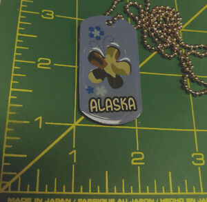 Alaska-Dog-Tags-Forget-me-not-flower-2-metal-tags-Blue-top-amp-green-camo-back