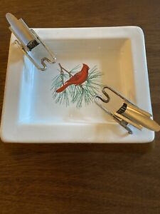 Vintage-Cigarette-Chaperone-And-Ceramic-Christmas-Ashtray-Prevents-burning-MCM
