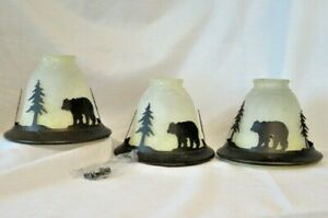 3 vintage en verre dépoli Lamp Shades GLOBES LUMINEUX PENDENTIF Ventilateur De Plafond Rustique/Bear