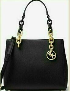 NWT-Michael-Kors-Cynthia-Small-Leather-Satchel-Bag-278-Black