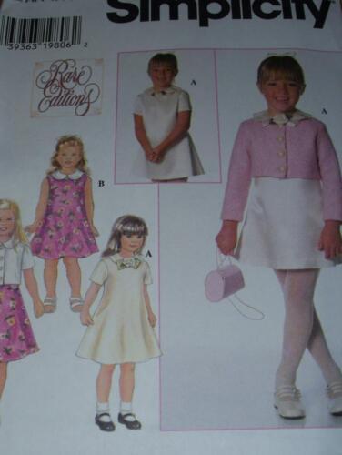SIMPLICITY #7464 GIRLS ELEGANT PETER PAN COLLAR DRESS /& JACKET PATTERN  3-8 FF