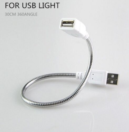 USB Power Cable Adapter Extension Cord Flexible Metal Tubing for USB LED Lamp
