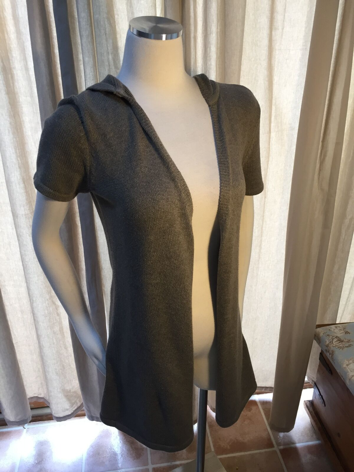 PureJill J. Jill Mocha Brown Short Sleeve Hooded Open Cardigan Sweater XS EUC