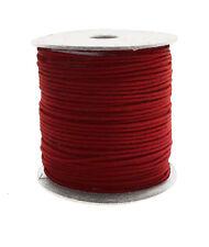 100m Baumwollband (0,13 €/1m) dunkelrot,1,5 mm rund poliert gewachst Rolle/Spule