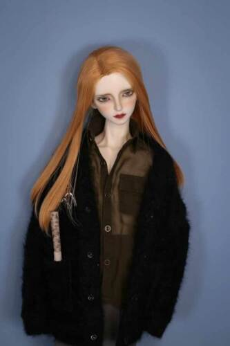 1//3 8-9 Bjd Doll Long Light Auburn Straight Sleek Perm Golden Brown Hair Wig N-5