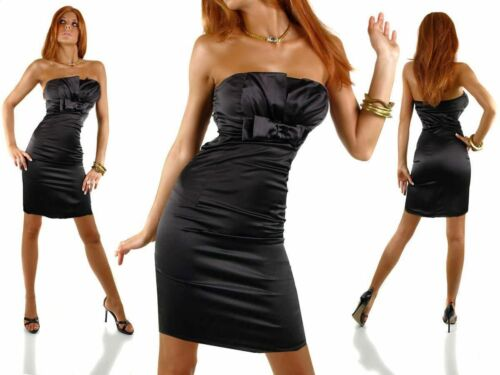 Satin robe de soirée robe de cocktail noir t 42 NEUF