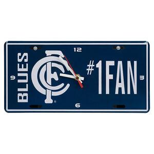 AFL-Carlton-Blues-Aussie-Rules-License-Number-1-Fan-Plate-Metal-Clock