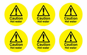Prime Details About Caution Hot Water Stickers Decals Pack Of 10 Bargain 65Mm Diam Circles Download Free Architecture Designs Scobabritishbridgeorg
