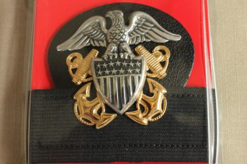BADGE /& BUTTON SET HR USN US NAVY ALL RANKS OFFICER COMBO COMBINATION CAP BAND