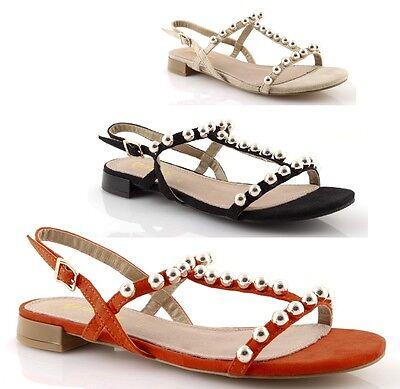 Schuhe Gold und gold Frauensandalen niedrig Sommer flachem Absatz komfortabel