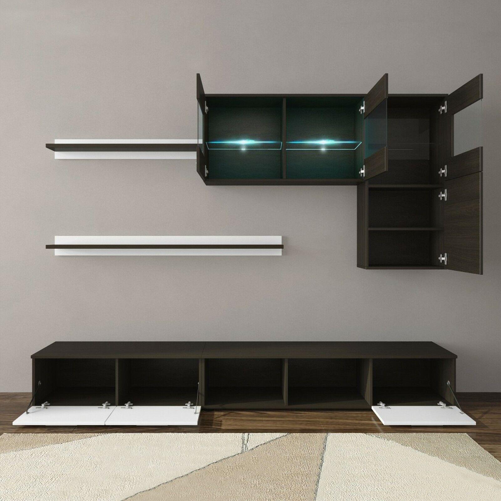 s l1600 - Salón moderno, comedor con luces Leds, mueble salon color Blanco Brillo y Wengué
