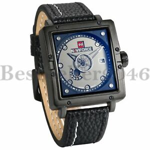 Mens-Date-Week-Large-Square-Dial-Leather-Band-Sports-Analog-Quartz-Wrist-Watch