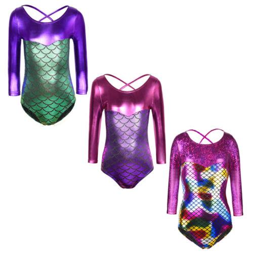 Girl Children Mermaid Metalic Sparkle Gymnastics Ballet Dancewear Leotards 3-10Y