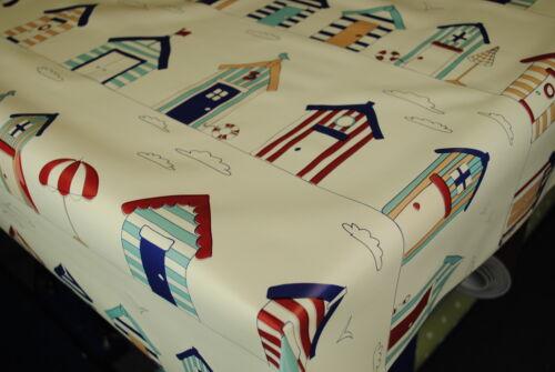 SEASIDE HUTS ON CREAM  VINYL WIPE CLEAN PVC TABLECLOTH