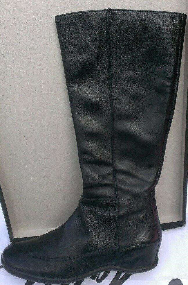 Steven by Steve Madden Arloe Black Leather Small Hidden Wedge Tall Boots sz 6.5