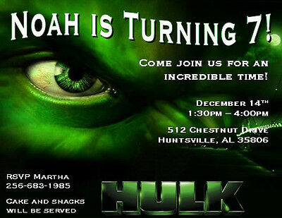 Incredible Hulk Birthday Invitations collection on eBay – Hulk Birthday Invitations