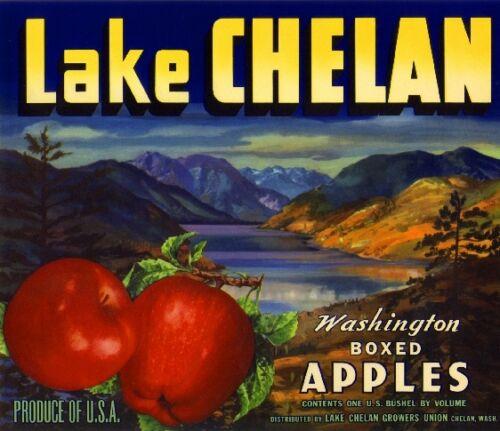 Lake Chelan Washington Apple Fruit Crate Label Art Print