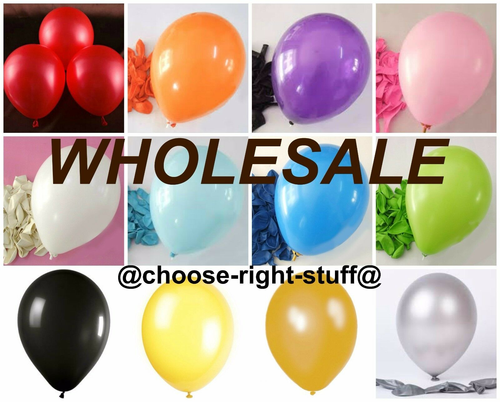 WHOLESALE 10  Latex Plain Balloons 100-5000 Job Lot Mix Colour For All Occassion