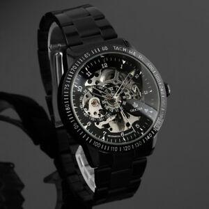 Men-039-s-Skeleton-Mechanical-Watch-Self-winding-Analog-Stainless-Steel-Business
