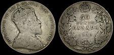 1910 Canada 50 Cents Silver Half Dollar VG-10 Edward VII