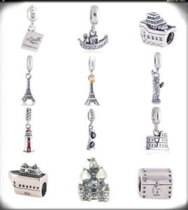 Authentic Sterling Silver Travel Holiday Women Charms for European Bead Bracelet