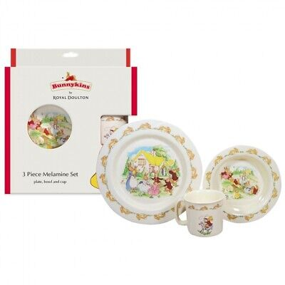 Bunnykins Playing Bunnies Suction Bowl And Spoon Set Royal Doulton Baby New