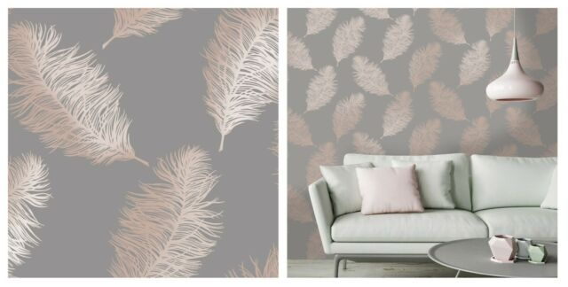 Holden Decor Reflect 2 Fawning Feather Grey Rose Gold Wallpaper 12629 Metallic